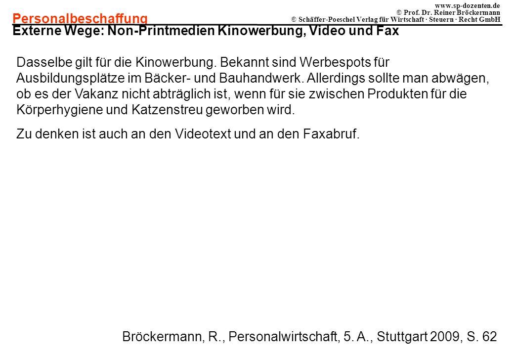 Externe Wege: Non-Printmedien Kinowerbung, Video und Fax