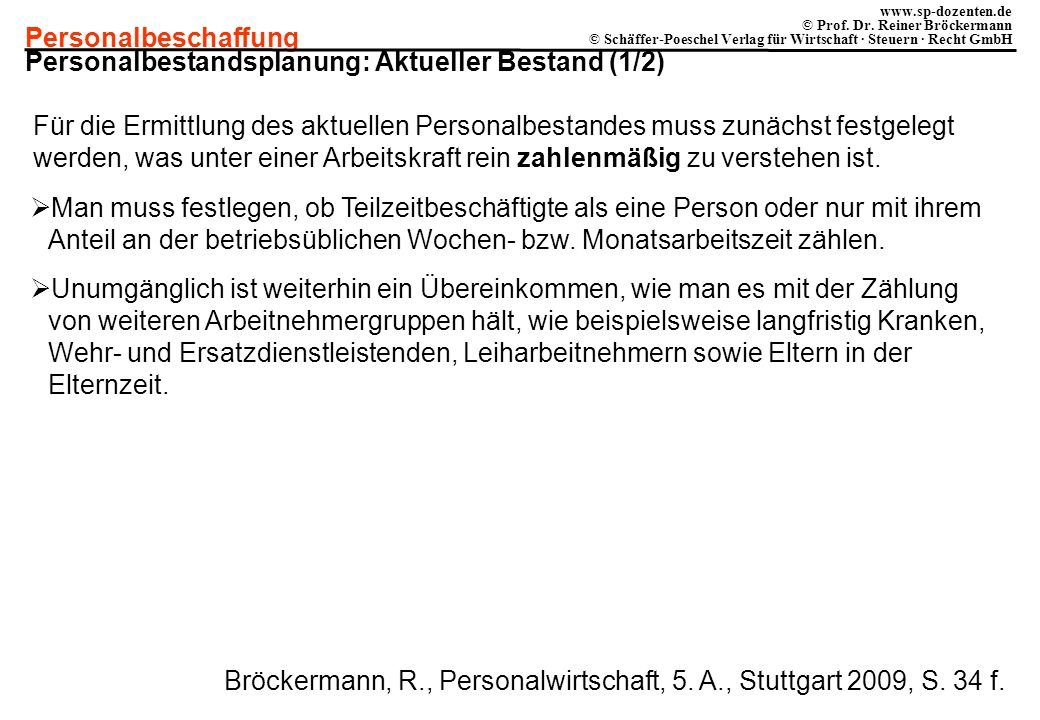 Personalbestandsplanung: Aktueller Bestand (1/2)