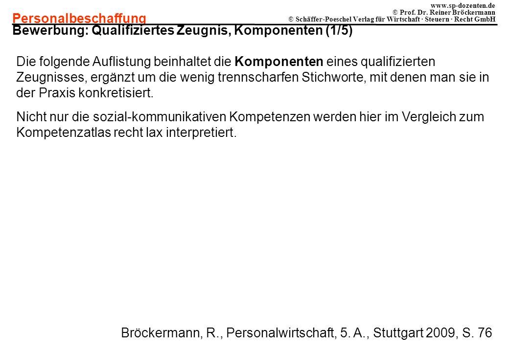 Bewerbung: Qualifiziertes Zeugnis, Komponenten (1/5)