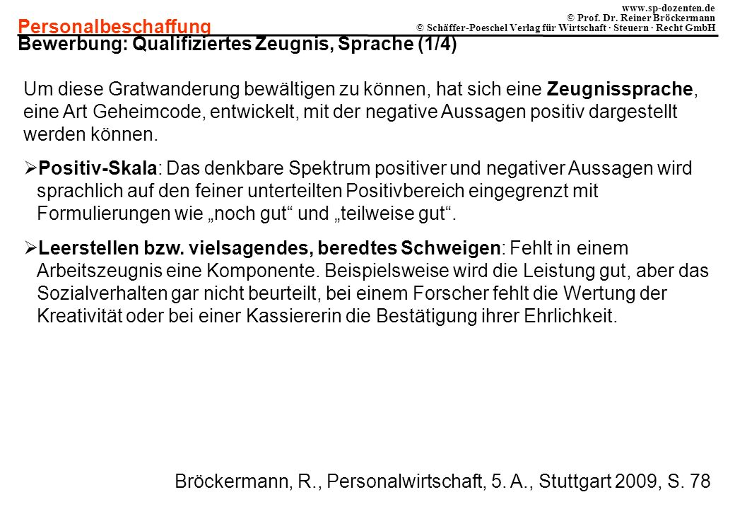 Bewerbung: Qualifiziertes Zeugnis, Sprache (1/4)