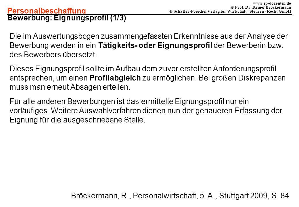Bewerbung: Eignungsprofil (1/3)