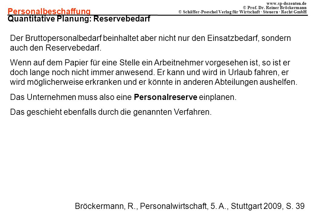 Quantitative Planung: Reservebedarf
