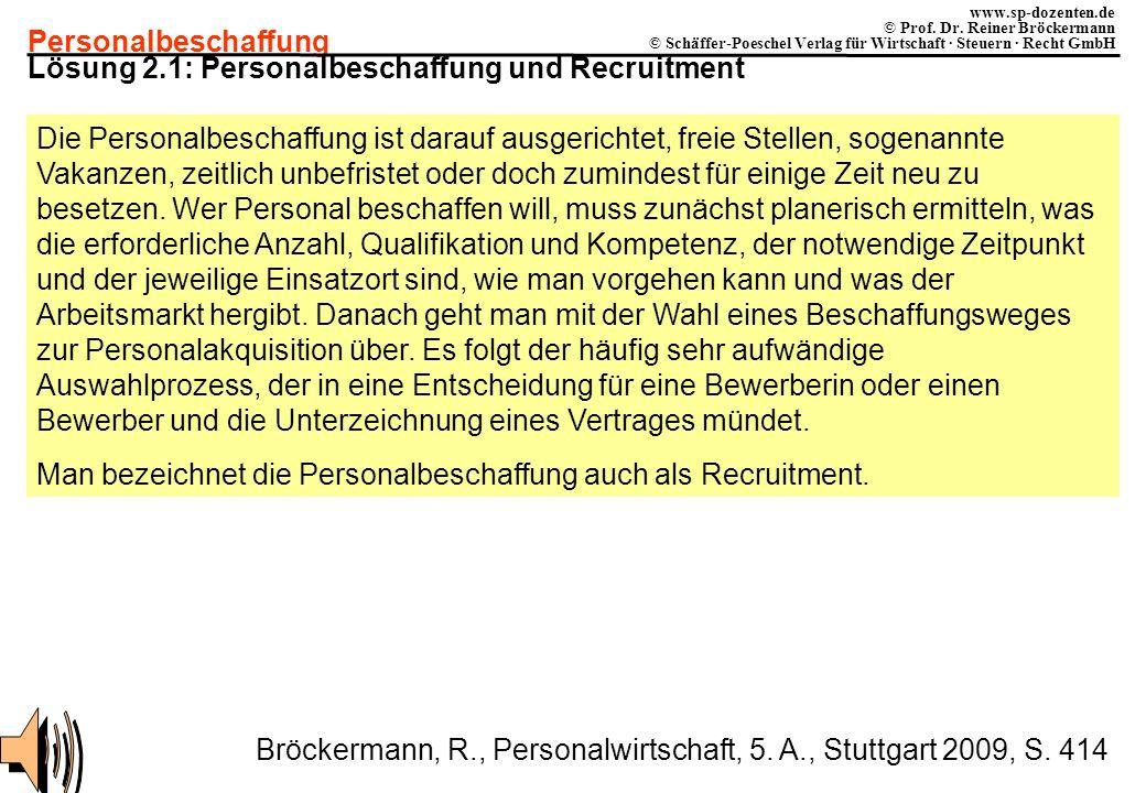 Lösung 2.1: Personalbeschaffung und Recruitment