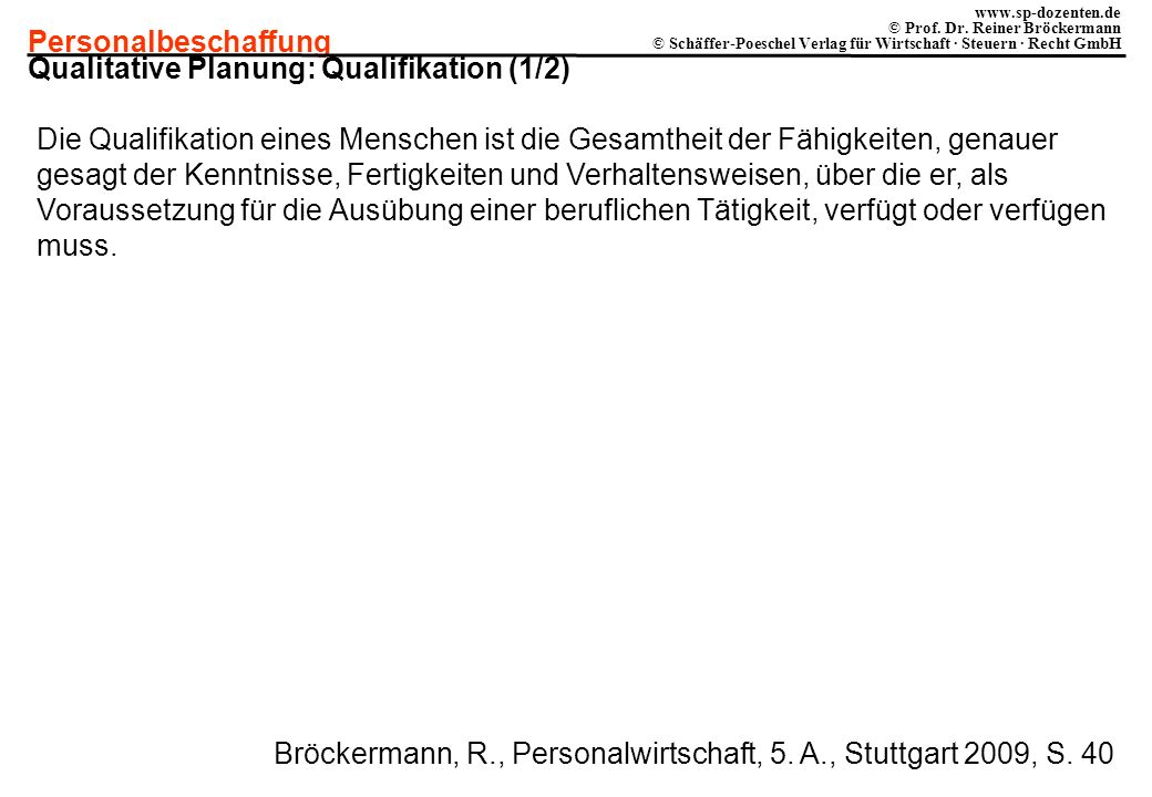 Qualitative Planung: Qualifikation (1/2)