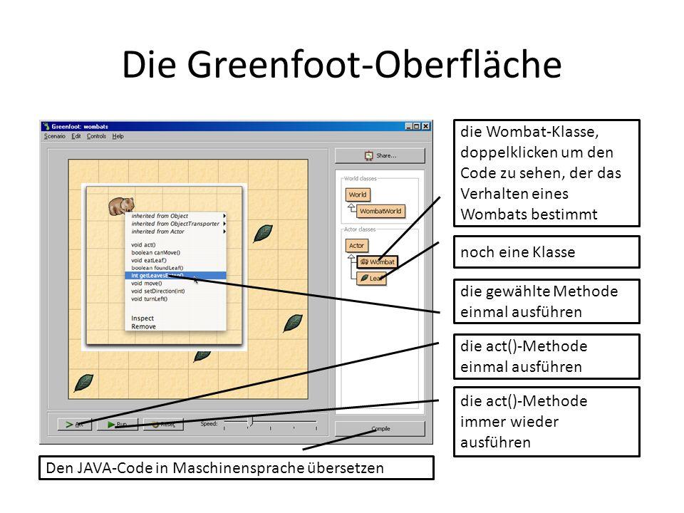 Die Greenfoot-Oberfläche