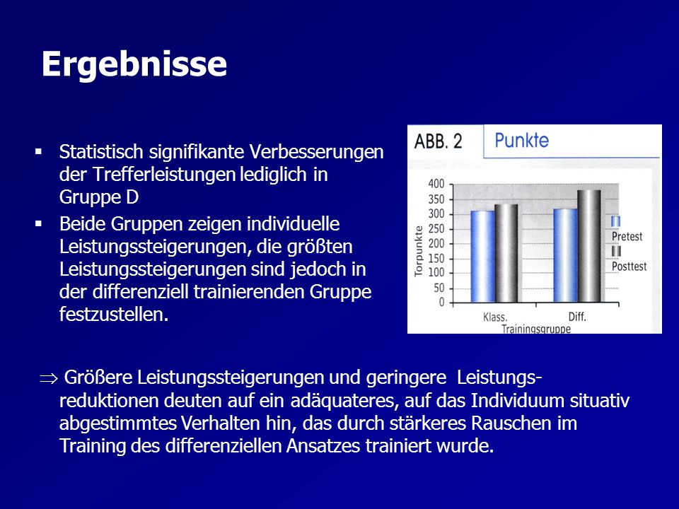Ergebnisse Statistisch signifikante Verbesserungen der Trefferleistungen lediglich in Gruppe D.