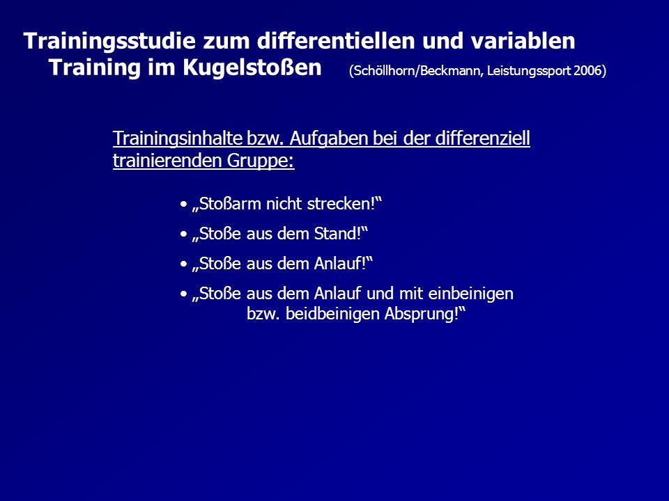 Trainingsstudie zum differentiellen und variablen Training im Kugelstoßen (Schöllhorn/Beckmann, Leistungssport 2006)