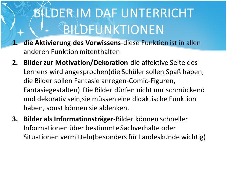 BILDER IM DAF UNTERRICHT BILDFUNKTIONEN