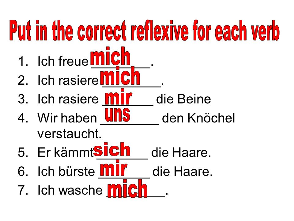 Put in the correct reflexive for each verb