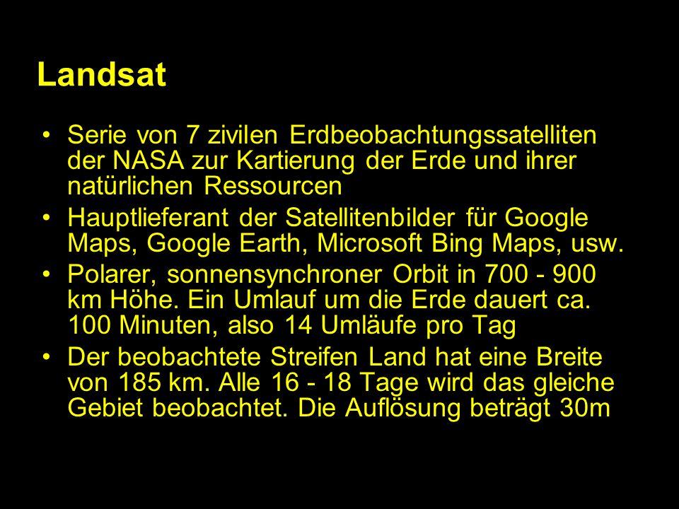 Landsat Serie von 7 zivilen Erdbeobachtungssatelliten der NASA zur Kartierung der Erde und ihrer natürlichen Ressourcen.