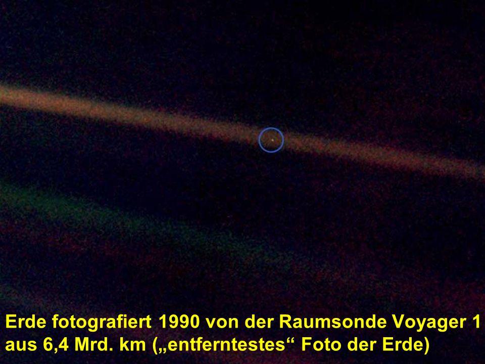 Erde fotografiert 1990 von der Raumsonde Voyager 1 aus 6,4 Mrd