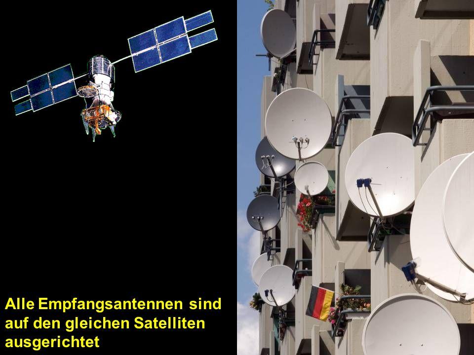 Alle Empfangsantennen sind auf den gleichen Satelliten ausgerichtet