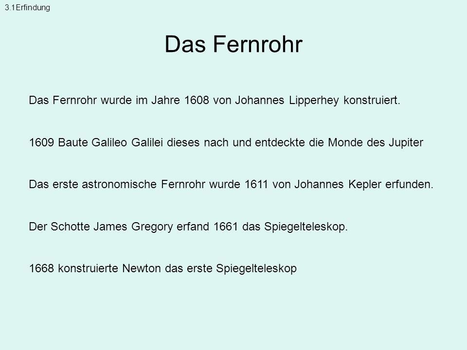 3.1Erfindung Das Fernrohr. Das Fernrohr wurde im Jahre 1608 von Johannes Lipperhey konstruiert.