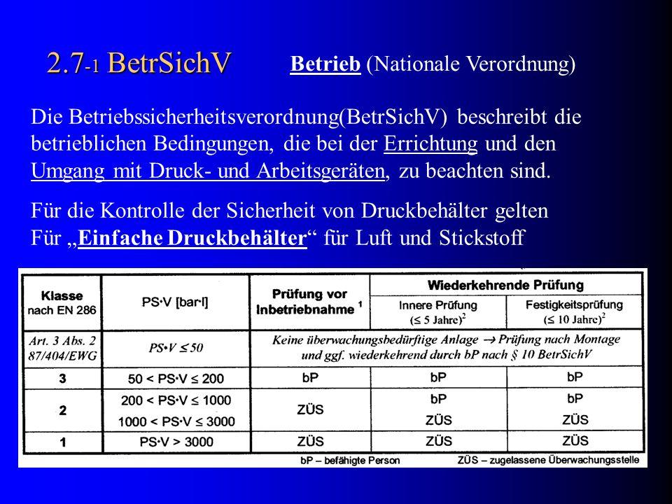 2.7-1 BetrSichV Betrieb (Nationale Verordnung)