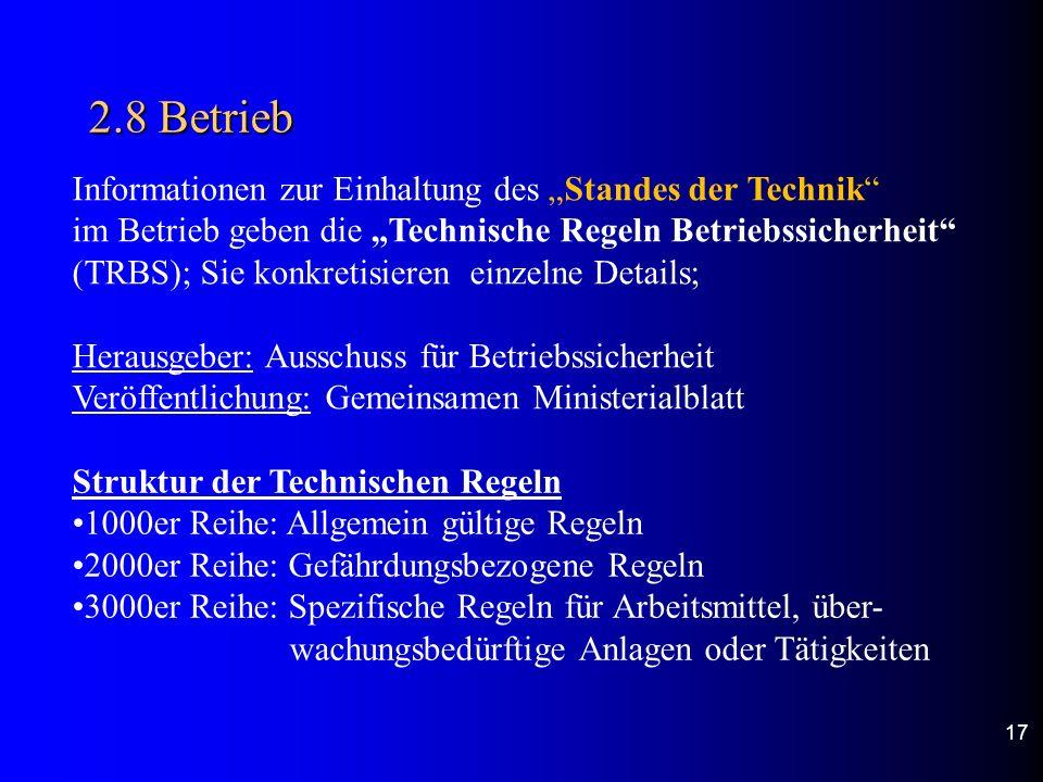"""2.8 Betrieb Informationen zur Einhaltung des """"Standes der Technik"""