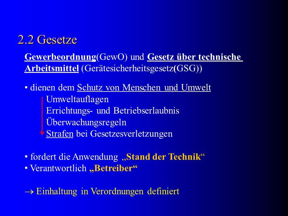 2.2 Gesetze Gewerbeordnung(GewO) und Gesetz über technische