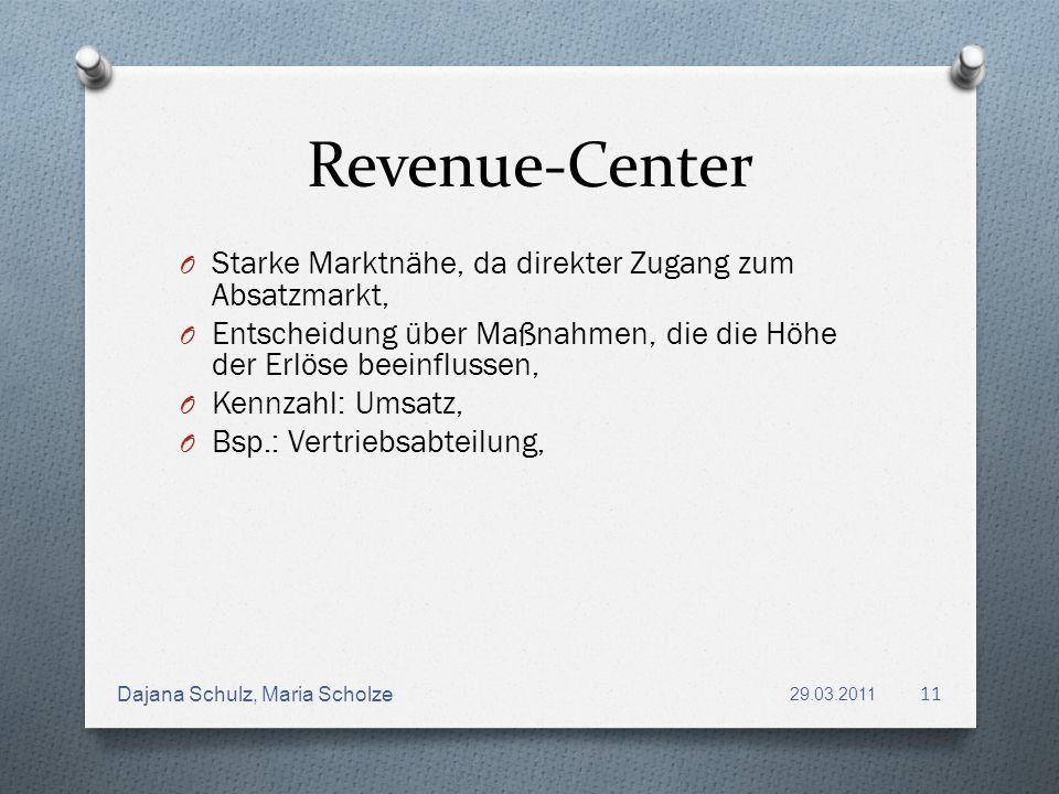 Revenue-Center Starke Marktnähe, da direkter Zugang zum Absatzmarkt,