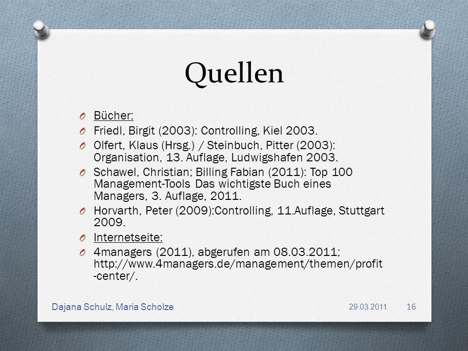 Quellen Bücher: Friedl, Birgit (2003): Controlling, Kiel 2003.