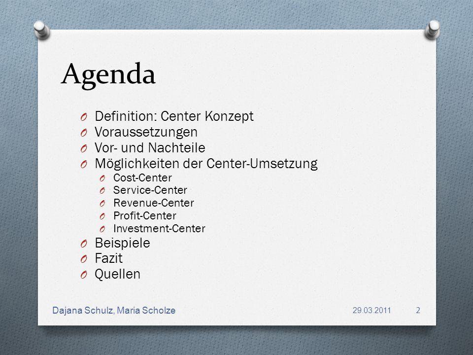 Agenda Definition: Center Konzept Voraussetzungen Vor- und Nachteile