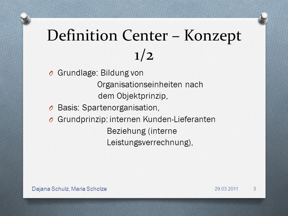 Definition Center – Konzept 1/2