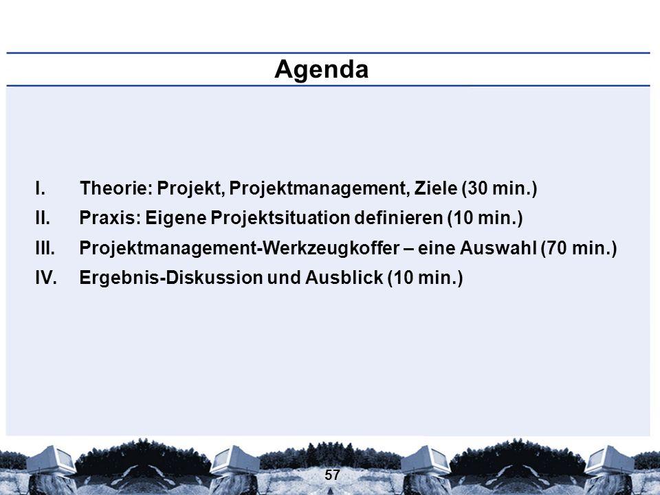 Agenda Theorie: Projekt, Projektmanagement, Ziele (30 min.)