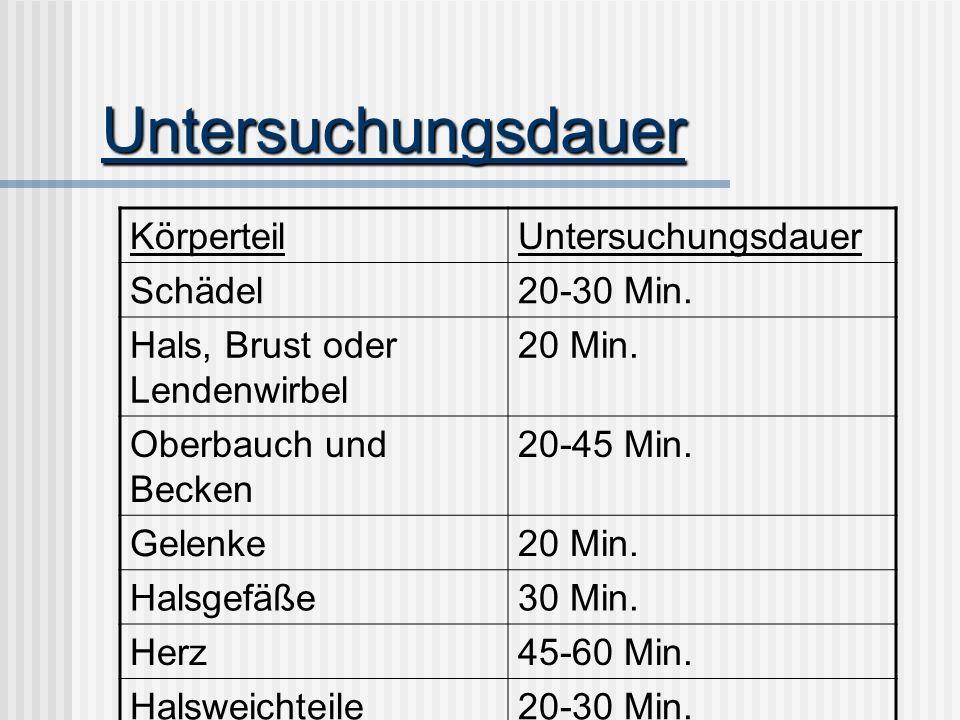 Untersuchungsdauer Körperteil Untersuchungsdauer Schädel 20-30 Min.