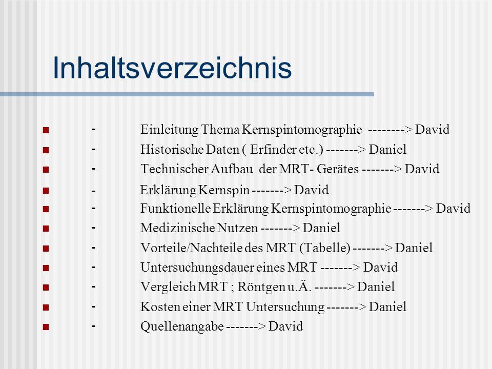 Inhaltsverzeichnis ⁃ Einleitung Thema Kernspintomographie --------> David. ⁃ Historische Daten ( Erfinder etc.) -------> Daniel.
