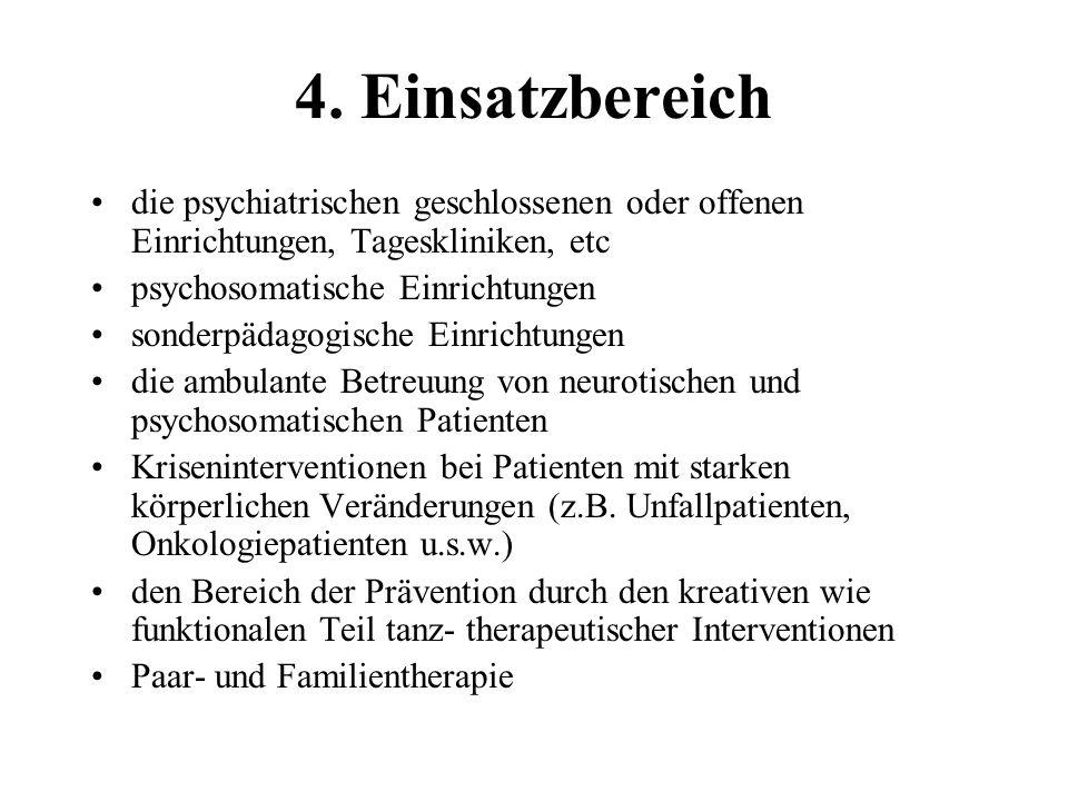 4. Einsatzbereich die psychiatrischen geschlossenen oder offenen Einrichtungen, Tageskliniken, etc.