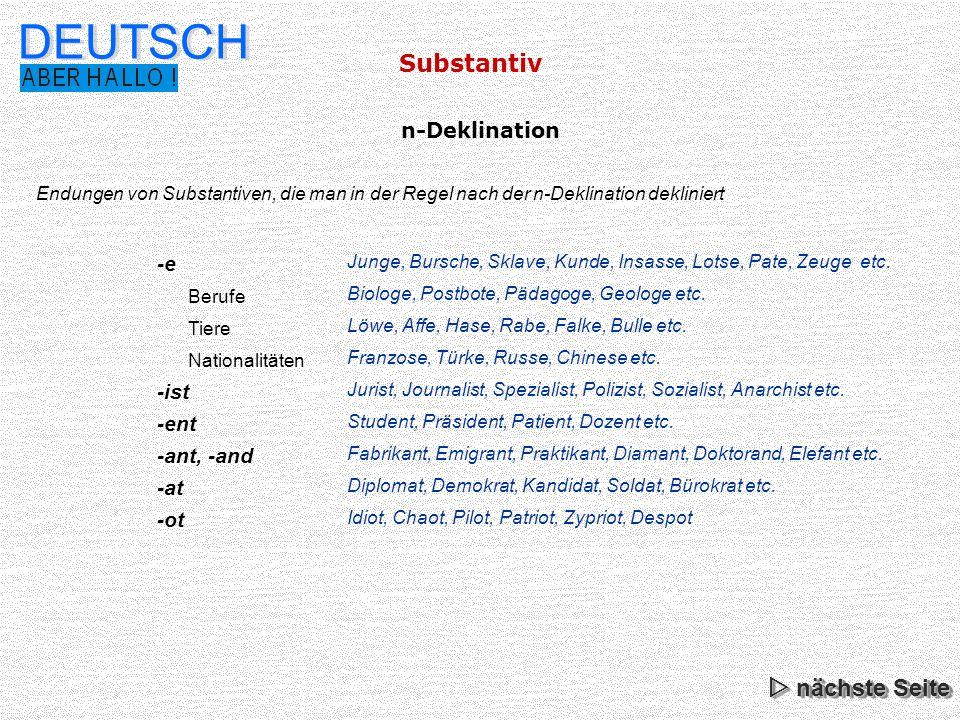 DEUTSCH Substantiv  nächste Seite n-Deklination