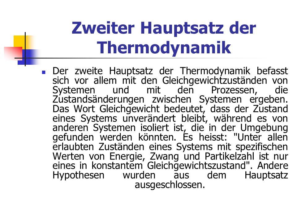 Zweiter Hauptsatz der Thermodynamik
