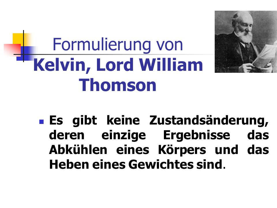 Formulierung von Kelvin, Lord William Thomson