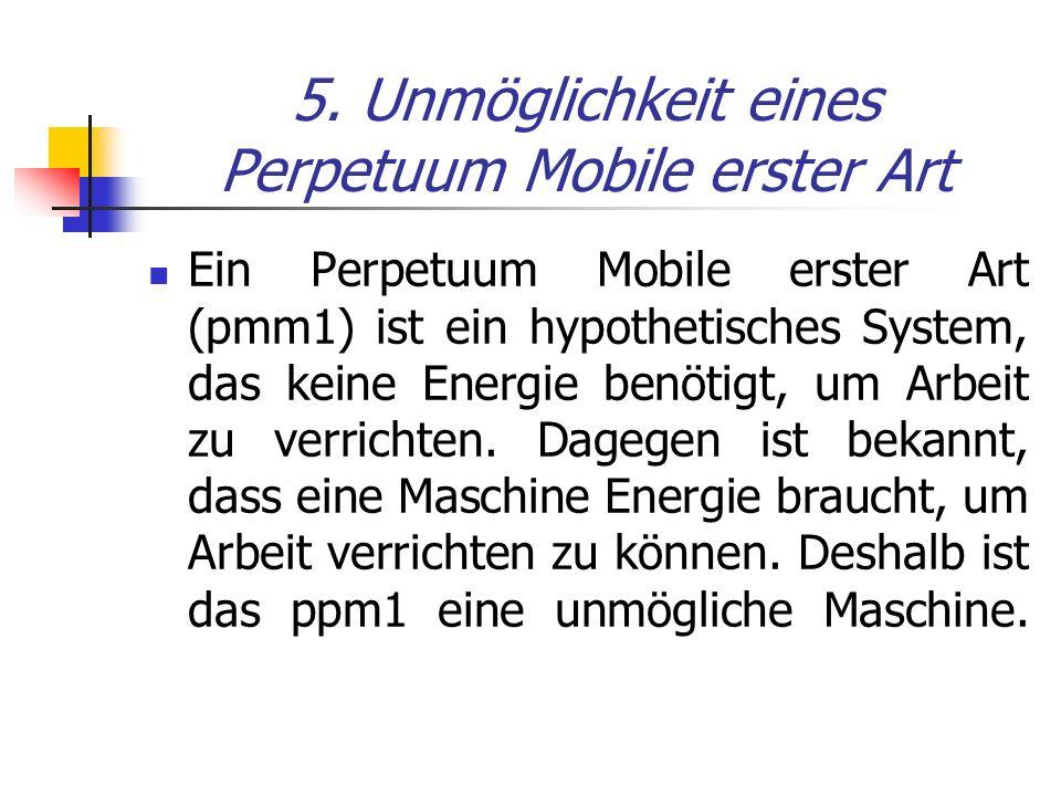 5. Unmöglichkeit eines Perpetuum Mobile erster Art