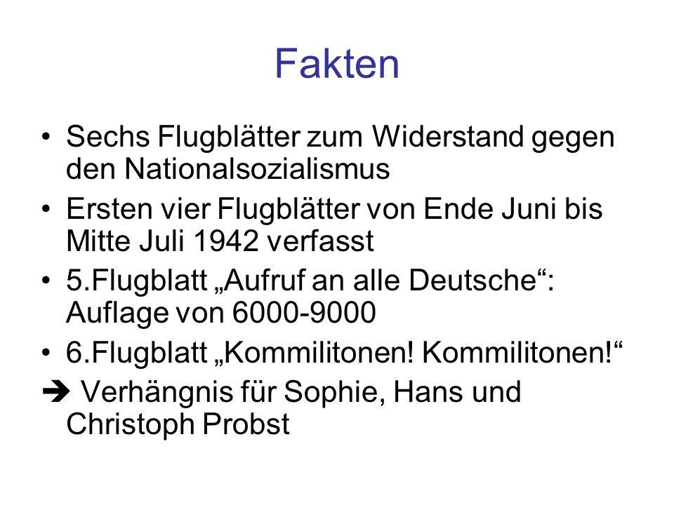 Fakten Sechs Flugblätter zum Widerstand gegen den Nationalsozialismus