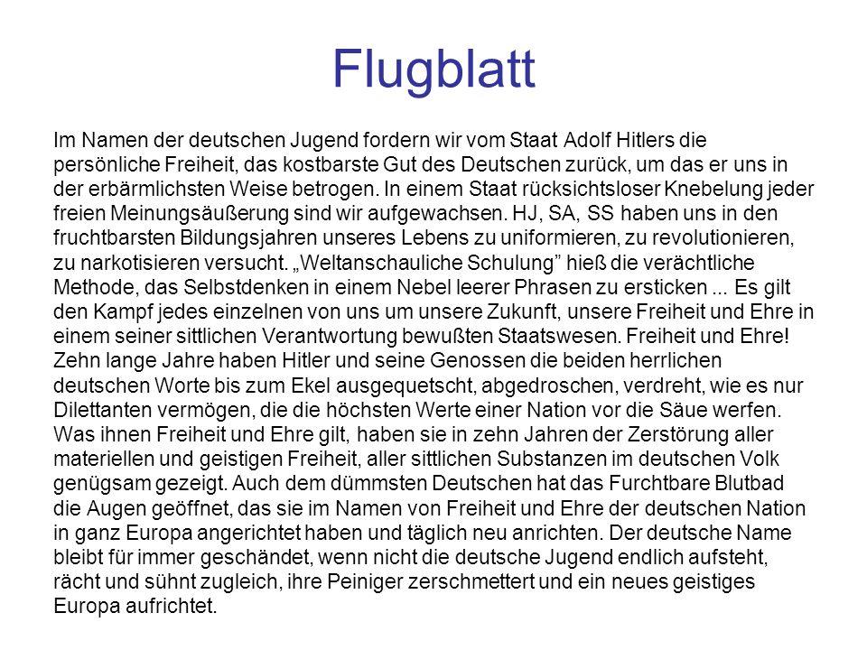 Flugblatt Im Namen der deutschen Jugend fordern wir vom Staat Adolf Hitlers die.