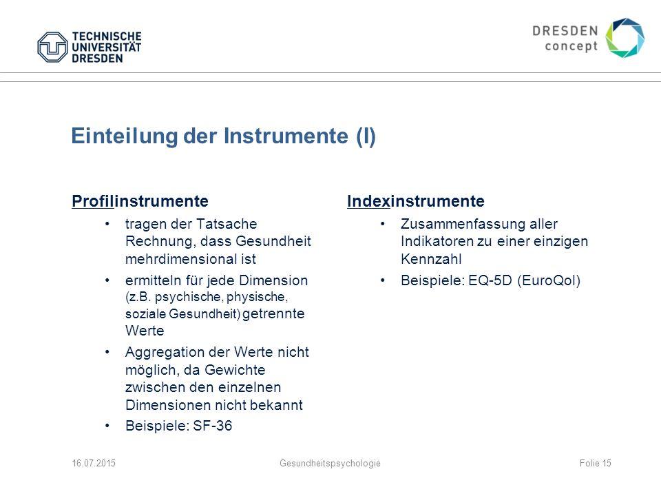 Einteilung der Instrumente (I)