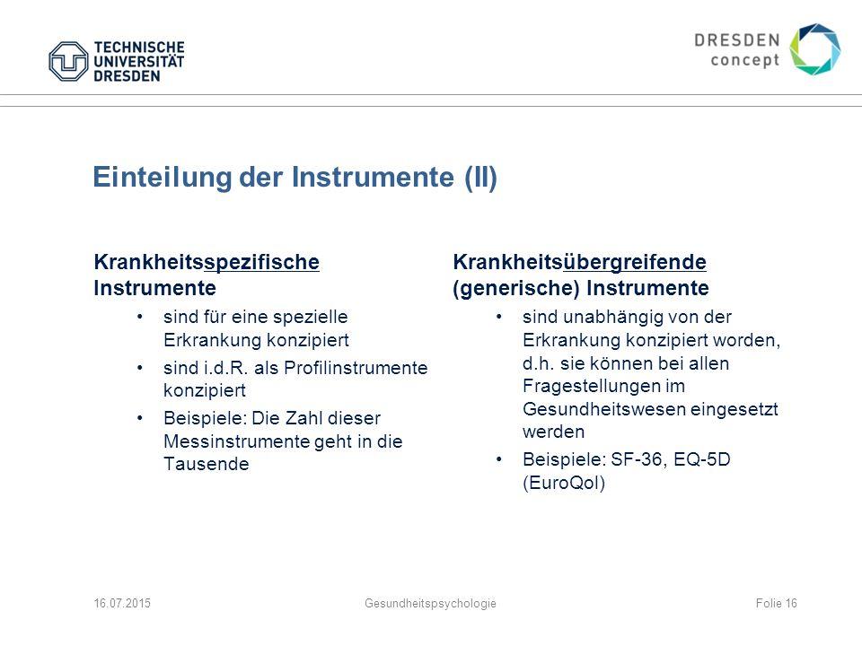 Einteilung der Instrumente (II)