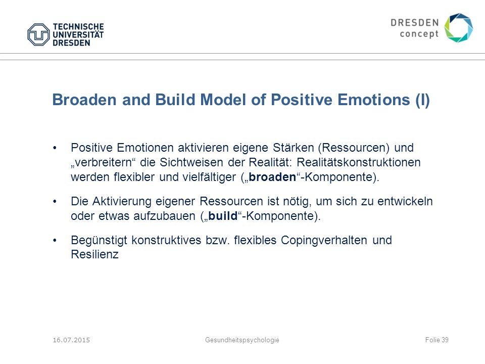 Broaden and Build Model of Positive Emotions (I)