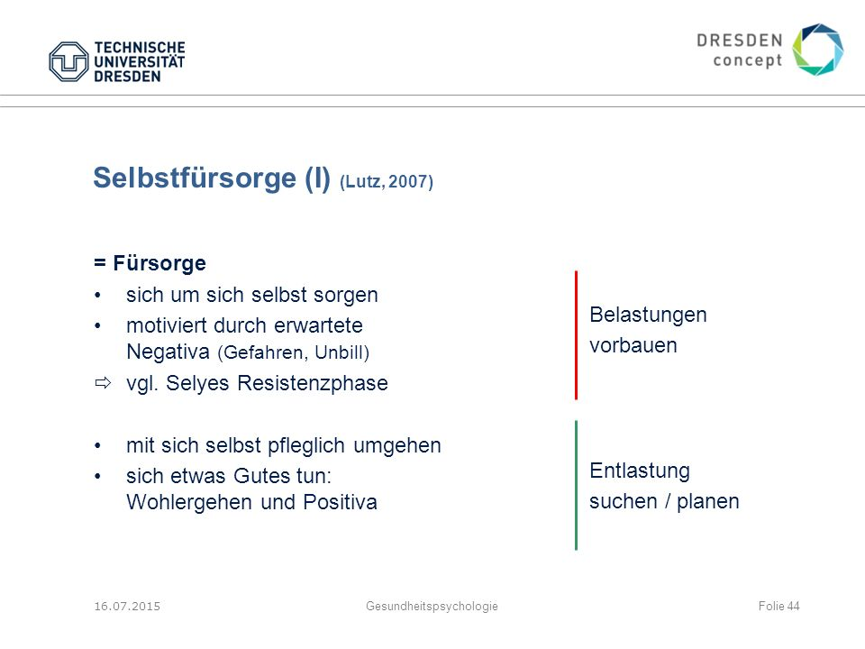 Selbstfürsorge (I) (Lutz, 2007)