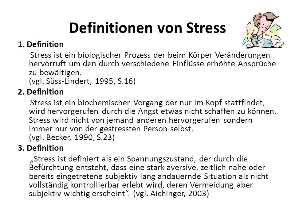 Definitionen von Stress