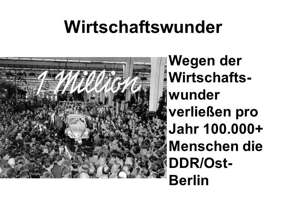 Wirtschaftswunder Wegen der Wirtschafts-wunder verließen pro Jahr 100.000+ Menschen die DDR/Ost-Berlin.