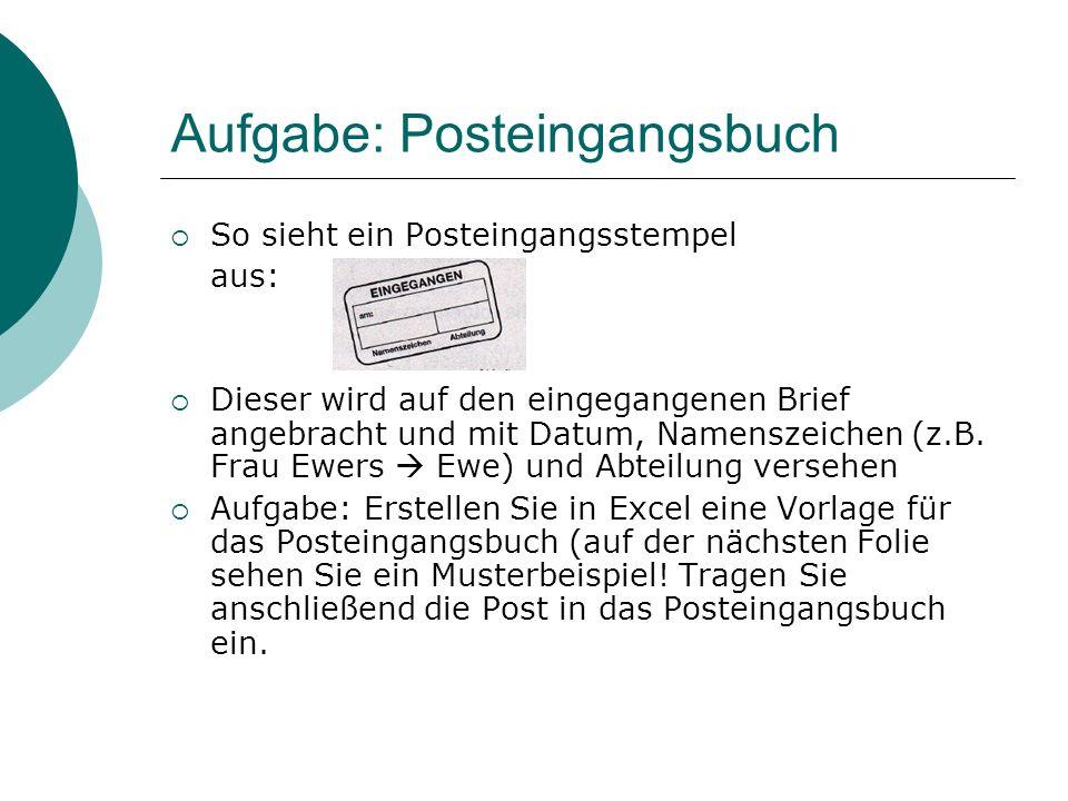 Aufgabe: Posteingangsbuch