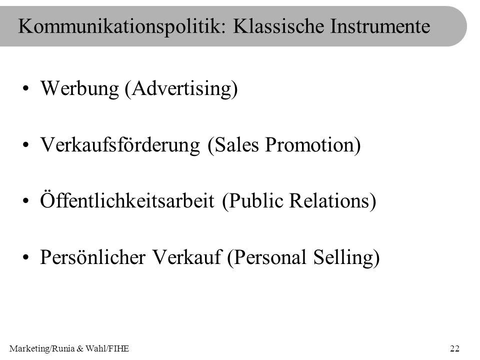 Kommunikationspolitik: Klassische Instrumente