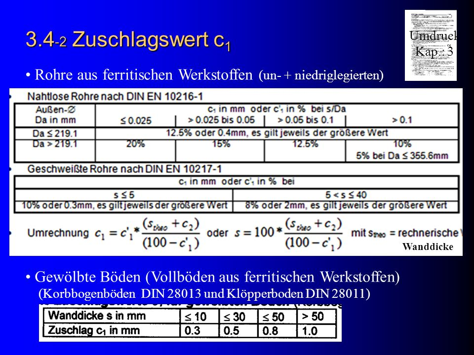 3.4-2 Zuschlagswert c1 Umdruck. Kap.: 3. Rohre aus ferritischen Werkstoffen (un- + niedriglegierten)