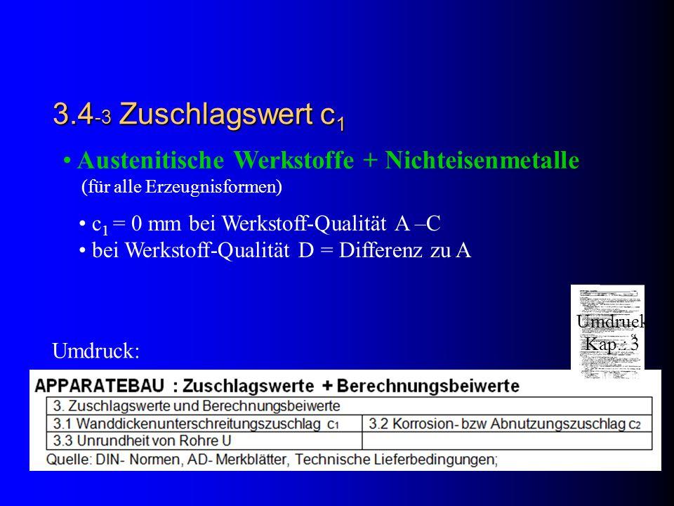 3.4-3 Zuschlagswert c1 Austenitische Werkstoffe + Nichteisenmetalle