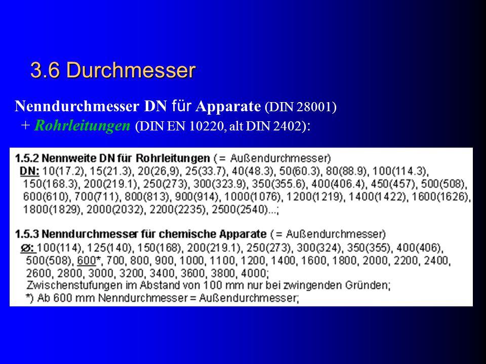 3.6 Durchmesser Nenndurchmesser DN für Apparate (DIN 28001)
