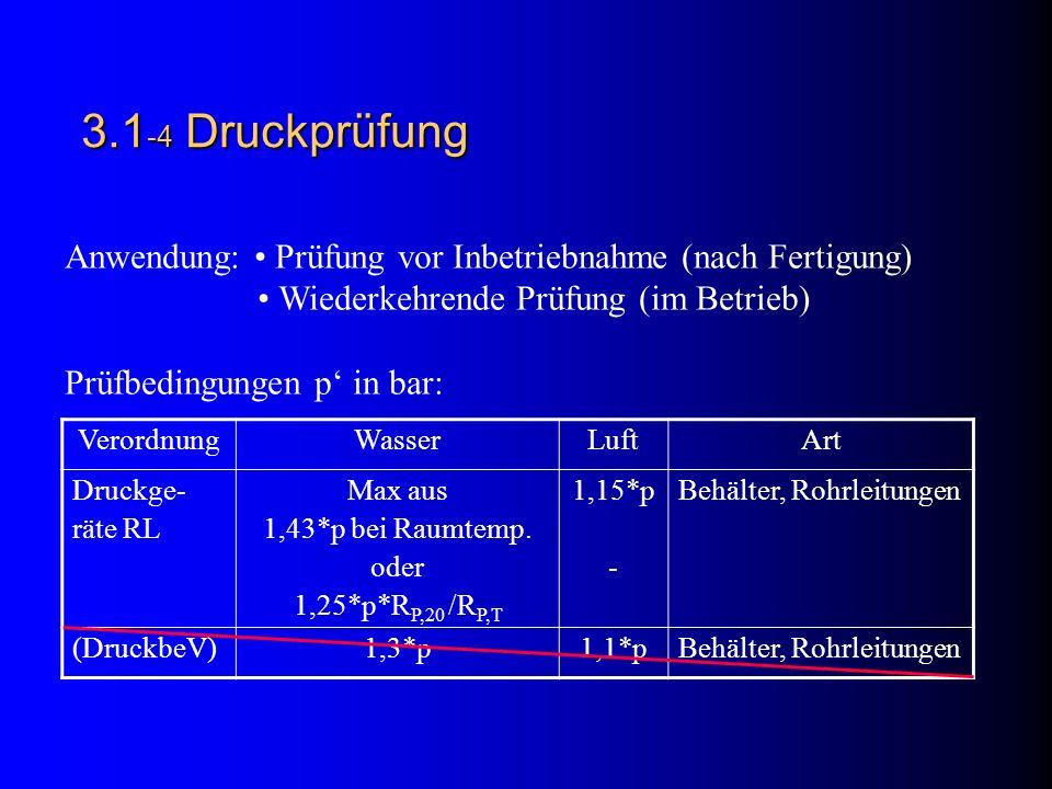 3.1-4 Druckprüfung Anwendung: • Prüfung vor Inbetriebnahme (nach Fertigung) • Wiederkehrende Prüfung (im Betrieb)