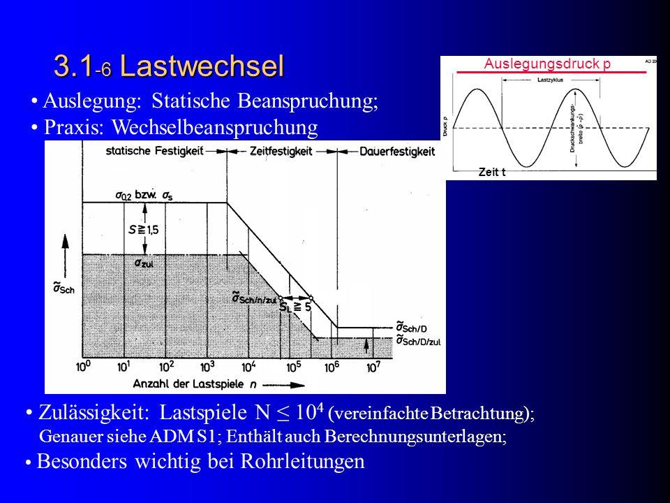 3.1-6 Lastwechsel Auslegung: Statische Beanspruchung;