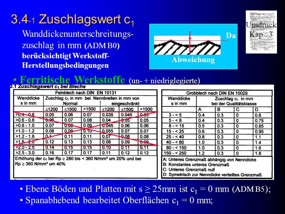 3.4-1 Zuschlagswert c1 Ferritische Werkstoffe (un- + niedriglegierte)