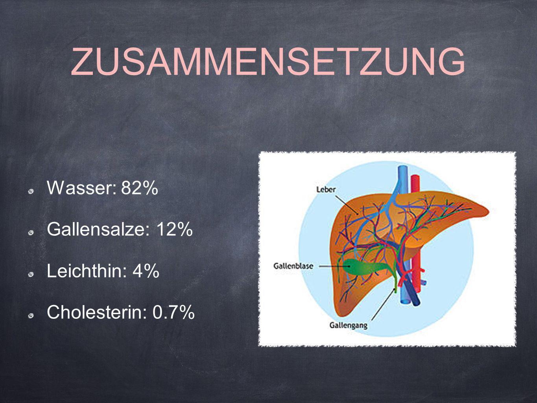 ZUSAMMENSETZUNG Wasser: 82% Gallensalze: 12% Leichthin: 4%