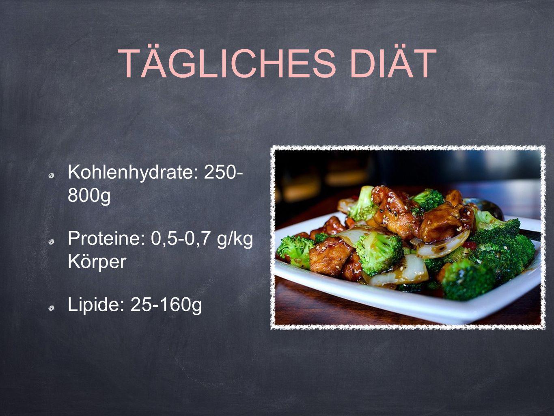 TÄGLICHES DIÄT Kohlenhydrate: 250- 800g Proteine: 0,5-0,7 g/kg Körper
